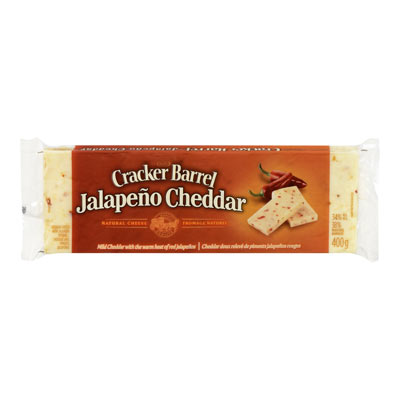 CRACKER BARREL 400 GR NATURAL CHEESE-BARS  JALAPENO/CHEDDAR     1 WRAPPER EACH
