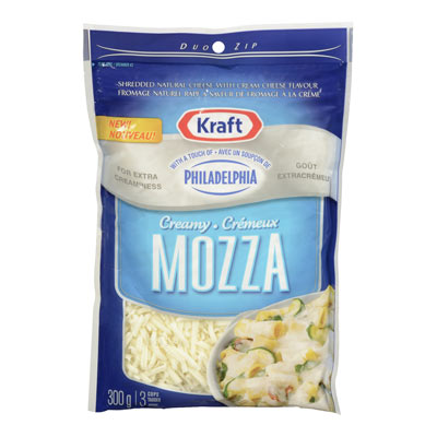 KRAFT Creamy Mozzarella Shredded Cheese with a  TOUCH OF PHILADELPHIA
