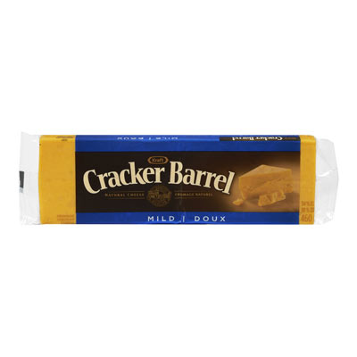 CRACKER BARREL 460 GR NATURAL CHEESE-BARS  MILD CHEDDAR COLORED     1 WRAPPER EACH