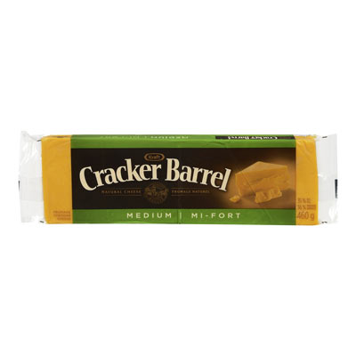 CRACKER BARREL 460 GR NATURAL CHEESE-BARS  MEDIUM CHEDDAR COLORED     1 WRAPPER EACH
