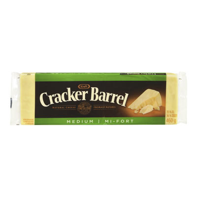 CRACKER BARREL 460 GR NATURAL CHEESE-BARS  MEDIUM CHEDDAR WHITE     1 WRAPPER EACH