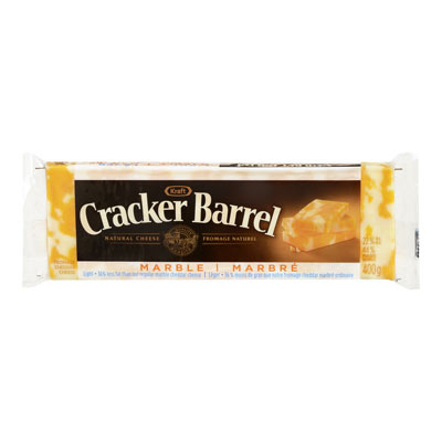 CRACKER BARREL 400 GR NATURAL CHEESE-BARS LIGHT MARBLE CHEDDAR     1 WRAPPER EACH