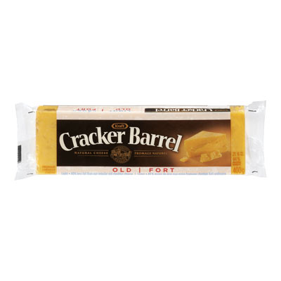 CRACKER BARREL 400 GR NATURAL CHEESE-BARS LIGHT OLD CHEDDAR COLORED     1 WRAPPER EACH