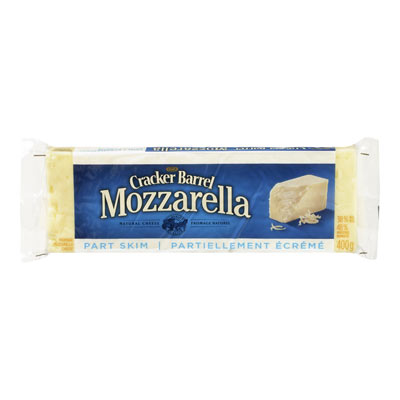 CRACKER BARREL 400 GR NATURAL CHEESE-BARS  MOZZARELLA PART SKIM     1 WRAPPER EACH
