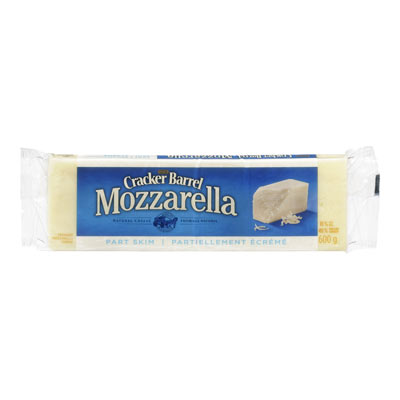 CRACKER BARREL 600 GR NATURAL CHEESE-BARS  MOZZARELLA-PART SKIM     1 WRAPPER EACH