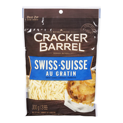 CRACKER BARREL 300 GR NATURAL CHEESE-SHREDS  SWISS AU GRATIN     1 BAG/POUCH EACH