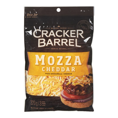 CRACKER BARREL 320 GR NATURAL CHEESE-SHREDS  MOZZARELLA CHEDDAR     1  EACH