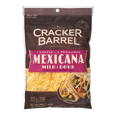 CRACKER BARREL 320 GR NATURAL CHEESE-SHREDS  3-CHEESE MEXICANA     1 BAG/POUCH EACH