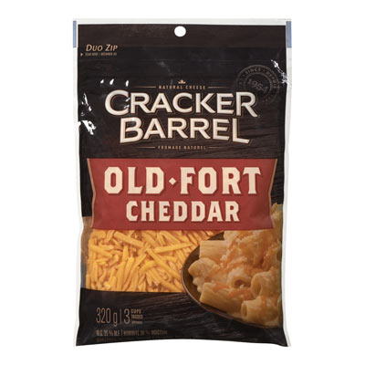 CRACKER BARREL 320 GR NATURAL CHEESE-SHREDS  OLD CHEDDAR     1 BAG/POUCH EACH
