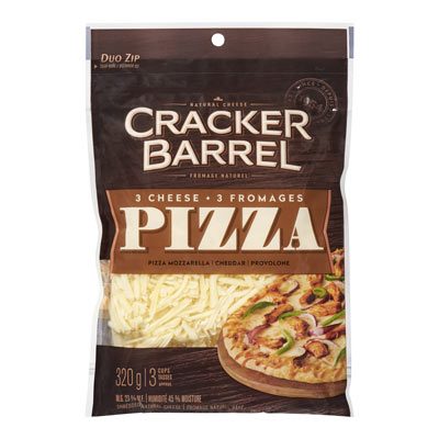 CRACKER BARREL  NATURAL CHEESE-SHREDS  3-CHEESE PIZZA