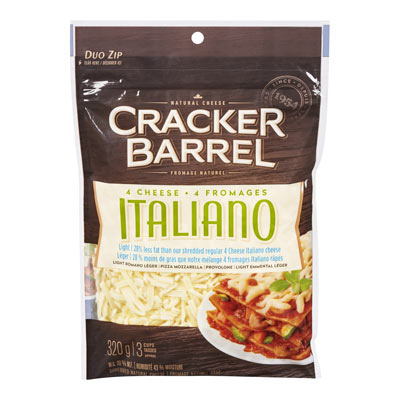 CRACKER BARREL  NATURAL CHEESE-SHREDS LIGHT FOUR CHEESE ITALIANO