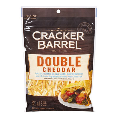 CRACKER BARREL  NATURAL CHEESE-SHREDS LT/38% LF DOUBLE CHEDDAR