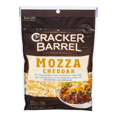 CRACKER BARREL  NATURAL CHEESE-SHREDS LIGHT MOZZARELLA CHEDDAR