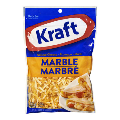 KRAFT  NATURAL CHEESE-SHREDS  MARBLE CHEDDAR