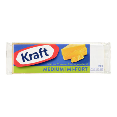 KRAFT  NATURAL CHEESE-BARS  MEDIUM CHEDDAR COLORED