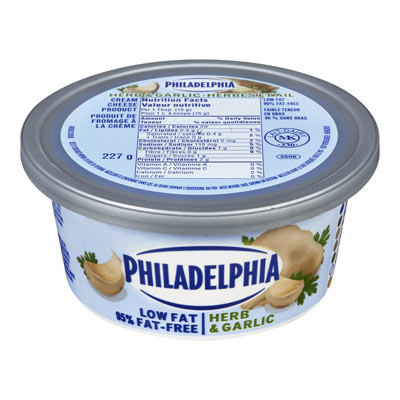 PHILADELPHIA  CREAM CHEESE-SOFT 95% FAT FREE HERB AND GARLIC