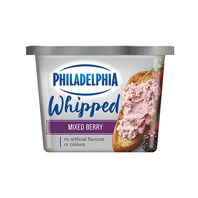 PHILADELPHIA  CREAM CHEESE-WHIPPED  MIXED BERRY