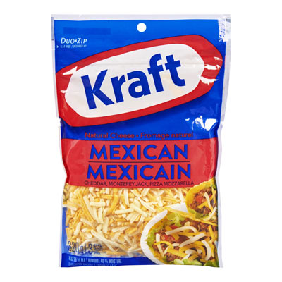KRAFT 320 GR NATURAL CHEESE-SHREDS  MEXICAN     1 BAG EACH
