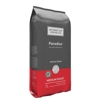 SECOND CUP 340 GR COFFEE-WHOLE BEANS  PARADISO MEDIUM     1 BAG/POUCH EACH