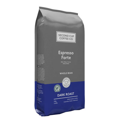 SECOND CUP 312 GR COFFEE-WHOLE BEANS  ESPRESSO FORTE     1 BAG/POUCH EACH