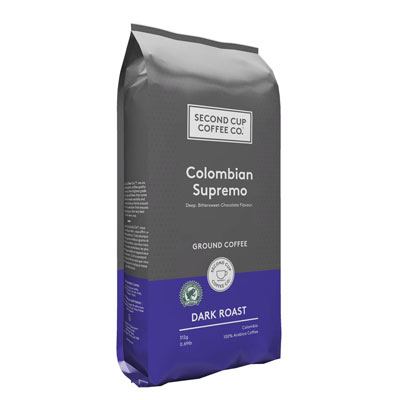 SECOND CUP 312 GR COFFEE-GROUND  COLOMBIAN SUPREMO DARK     1 BAG/POUCH EACH