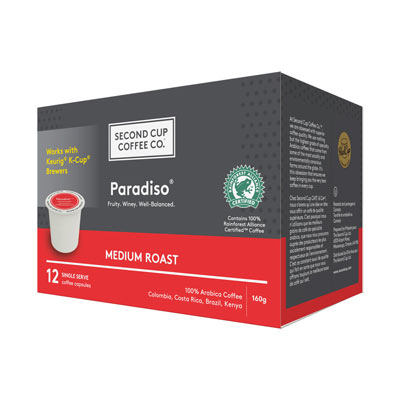 SECOND CUP 160 GR COFFEE-GROUND PODS  PARADISO MEDIUM     1 BOX/CARTON EACH