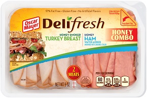 Oscar Mayer Deli Fresh Combos Honey Ham & Smoked Turkey 9Oz