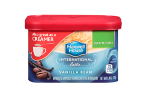 Maxwell House International Decaffeinated Vanilla Bean Latte Cafe-Style Beverage Mix 8.4 oz. Tub