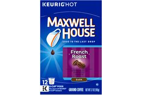 MAXWELL HOUSE 3.7 OZ CAFE COLLECTIONS COFFEE  FRENCH ROAST 1/12PK BOX/CARTON EACH