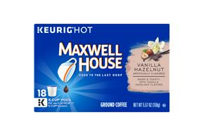 Maxwell House Vanilla Hazelnut Coffee K-Cup(R) Packs 18 ct Box
