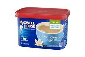 Maxwell House International Sugar Free French Vanilla Cafe Decaf 4 Oz Canister