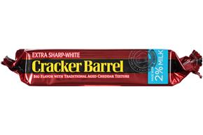 Cracker Barrel Extra Sharp-White Cheddar Cheese Made With 2% Milk 8 Oz. Chunk