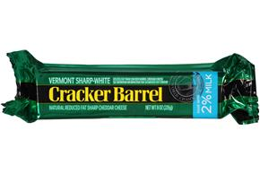 Cracker Barrel Vermont Sharp-White Cheddar Cheese Made With 2% Milk 8 Oz. Chunk.
