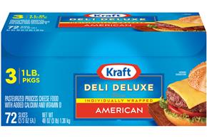 Kraft Deli Deluxe American Cheese Slices 72 Ct Box