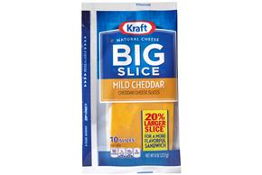 Kraft Big Slice Mild Cheddar Natural Cheese Slices  8 Oz Film Wrapped (10 Slices)