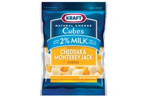 Kraft 2% Milk Cheddar & Monterey Jack Natural Cheese Cubes  5.8Oz Bag