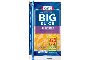 Kraft Big Slice Colby Jack Natural Cheese Slices  8 Oz Film Wrapped (10 Slices)