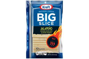Kraft Big Slice Jalapeno White Cheddar Natural Cheese Slices  7.5 Oz Film Wrapped (10 Slices)