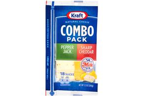 Kraft Pepper Jack & Sharp Cheddar Slices Combo Pack - 18Ct