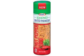 Kraft Hot Pepper Trio Seasoned Grated Parmesan Cheese 3 Oz. Shaker