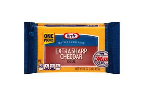 Kraft Extra Sharp Cheddar Natural Cheese Block 16 Oz Vacuum Packed