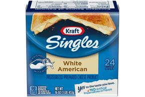 Kraft Singles White American Cheese Slices 24 Ct Pack