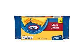 Kraft Sharp Cheddar Natural Cheese Block 2 Lb Vacuum Packed