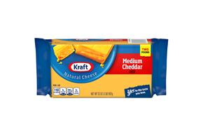 Kraft Medium Cheddar Natural Cheese Block 2 Lb Vacuum Packed