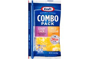 Kraft Colby Jack & Mild Cheddar Combo Pack Natural Cheese Slices  7.2 Oz Film Wrapped (18 Slices)