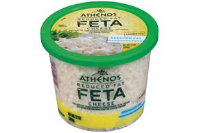 Athenos Feta Crumbled Reduced Fat Cheese 12 Oz Plastic Tub