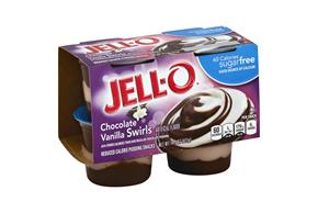 Jell-O Pudding Ready To Eat Sugar Free Chocolate/Vanilla Swirls 4 Ct Cups