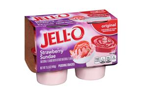 Jell-O Pudding Ready To Eat  Strawberry Sundae 4 Ct Cups
