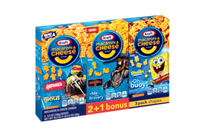 Kraft Ninja Turtles/Dragon 2/SpongeBob Shapes Macaroni & Cheese Dinner 3-5.5 oz. Boxes