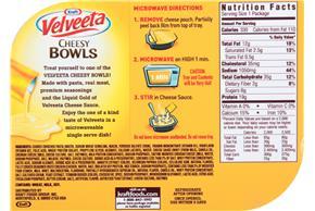 Kraft Velveeta Cheesy Bowls Chicken Alfredo 9 oz. Tray